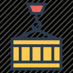 container, crane, gift, lifter, machine, presentbox, truck icon