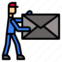 delivery, door, postman icon
