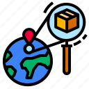 globe, location, search, tracking, world icon