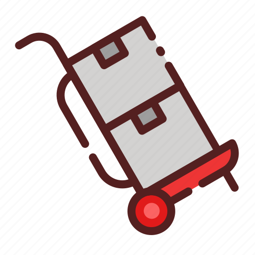 cart, delivery, logistics, package box, shipping, shopping, trolley icon