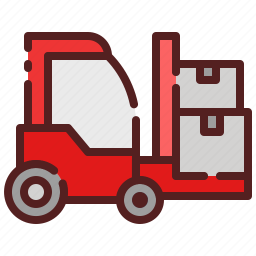 cargo, delivery, forklift, logistics, package box, shipping, vehicle icon
