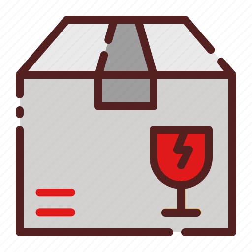 broken, delivery, fragile, glass, logistics, package box, shipping icon