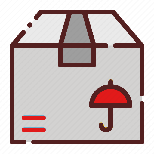delivery, insurance, logistics, package box, protection, safety, shipping icon
