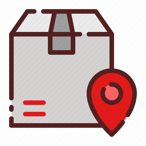 delivery, destination, location, logistics, package box, pin, shipping icon