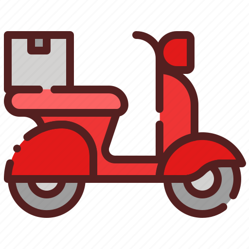 courier, delivery, logistics, motorcycle, package box, scooter, shipping icon