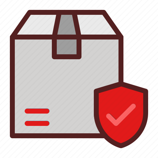 delivery, insurance, logistics, package box, protection, shield, shipping icon