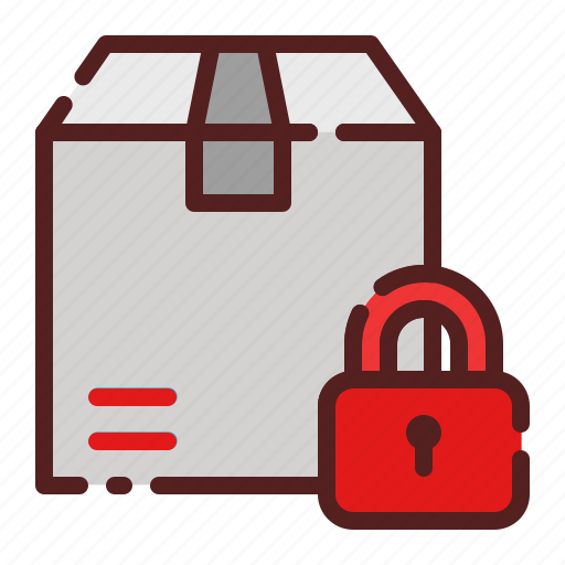delivery, lock, logistics, package box, protection, secure, shipping icon