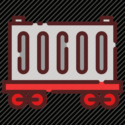 delivery, logistics, package box, railroad, shipping, train, wagon icon