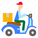 courier, deliveryscooter, express, motocycle, scooter, scooterdelivery icon