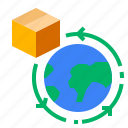 box, globe, location, logistic, shipping, world icon