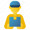 courier, delivery, delivery man, logistics, package box, postman, shipping icon