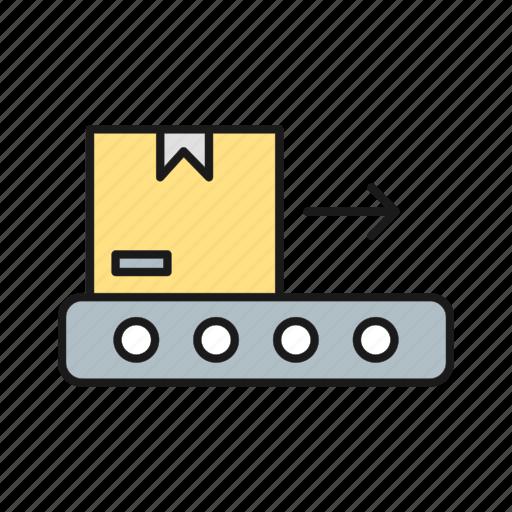 belt, box, conveyor, package icon