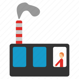 building, company, factory, industrial, industry, production, work icon