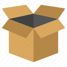 cardboard, carton, container, open box, pack, package, packaging icon