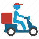 bike, courier, delivery, pizza, scooter, shipping, transportation icon