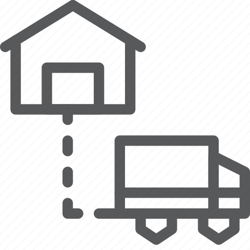 delivery, destination, distribute, logistics, shipping, transport, truck, vehicle icon