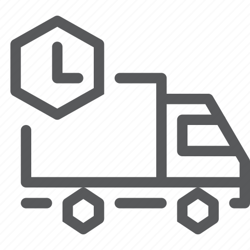 clock, delivery, distribute, logistics, shipping, time, truck, vehicle icon