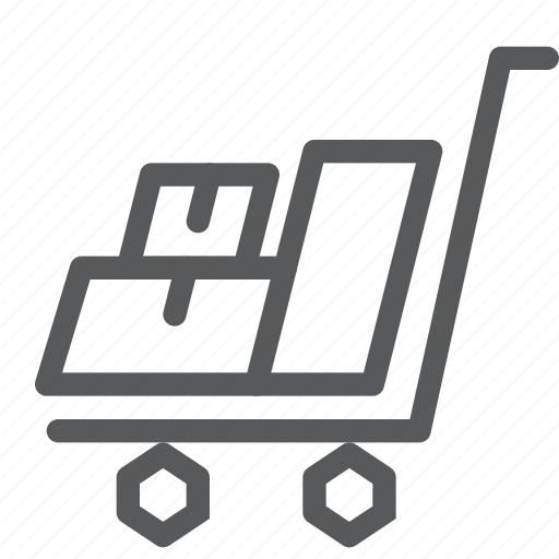 box, carry, crate, delivery, distribute, package, shipping, trolley icon