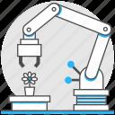 arm, autonomous, industry, logistic, mechanical, robots, technology icon