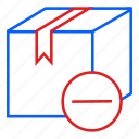 box, commerce, e, minus, shipping icon