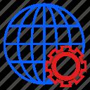 globe, international, logistic, setting, travel, world icon