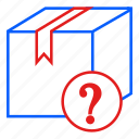 container, delivery, mail, mark, question icon