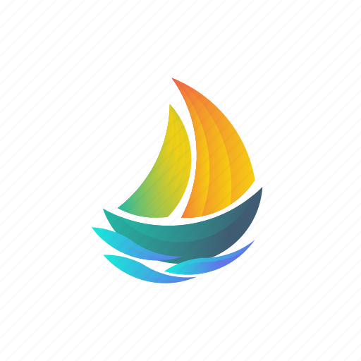 branding, business, colorful, company, gradient, logo, saiing, sea, ship icon