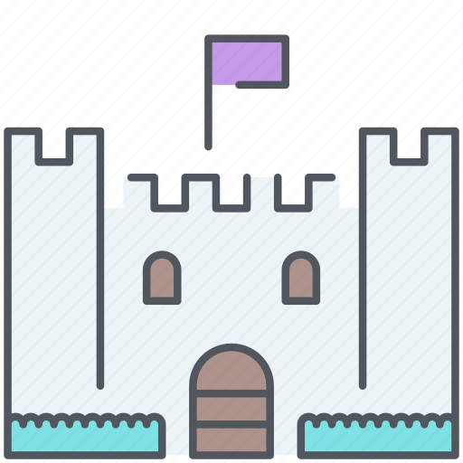 castle, flag, fortress, kingdom, medieval, nation, royalty icon