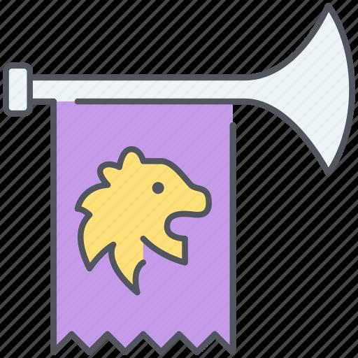 alert, announcement, emblem, hailer, kingdom, troubadour, trumpet icon