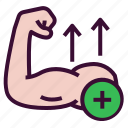 arm, biceps, gain, growth, muscle icon