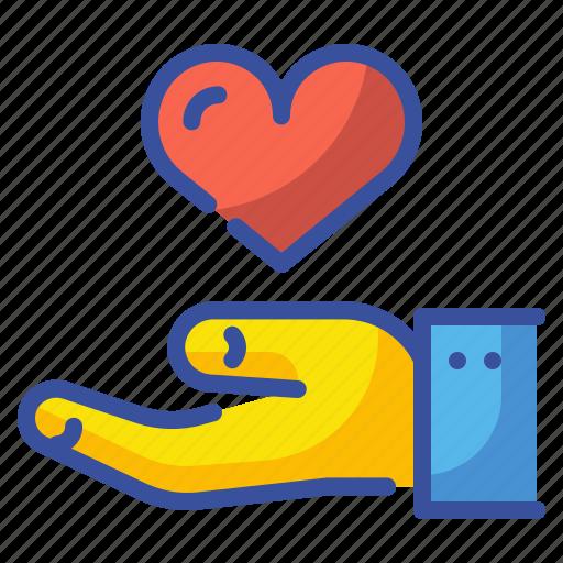 donation, hand, heart, love, solidarity, sympathy, valentine icon