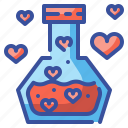 chemistry, flask, heart, love, potion, romantic, valentines