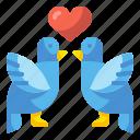 animals, bird, heart, love, romance, romantic, valentine icon