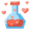 chemistry, flask, heart, love, potion, romantic, valentines