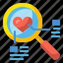 couple, find, heart, love, search, valentine, zoom icon