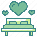 bed, bedroom, furniture, household, love, valentine, wedding icon