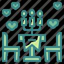 celebration, couple, dinner, heart, love, romantic, valentines icon