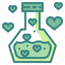 chemical, flask, heart, love, potion, romantic, valentines