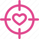 aim, favorite, heart, like, love, target, valentine icon
