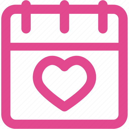 calendar, date, day, heart, love, schedule icon