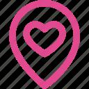 location, love, heart, map, navigation, pin