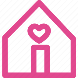 building, estate, heart, home, house, love, real icon