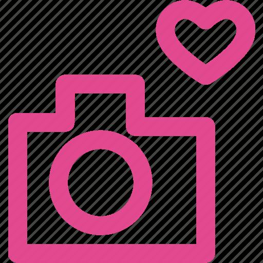 camera, heart, love, photo, photography, video icon