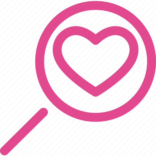 find, glass, heart, love, magnifier, search, zoom icon