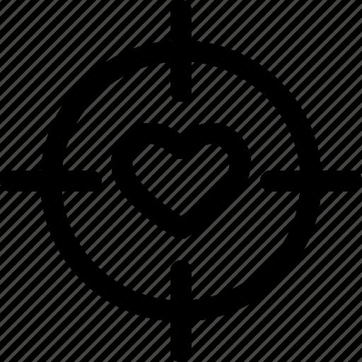 aim, love, target, valentine icon