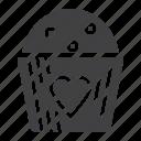 cake, cupcake, heart icon