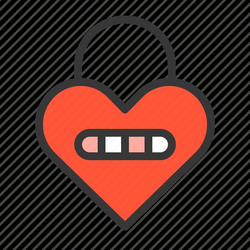 dating, heart, heart lock, lock, love icon