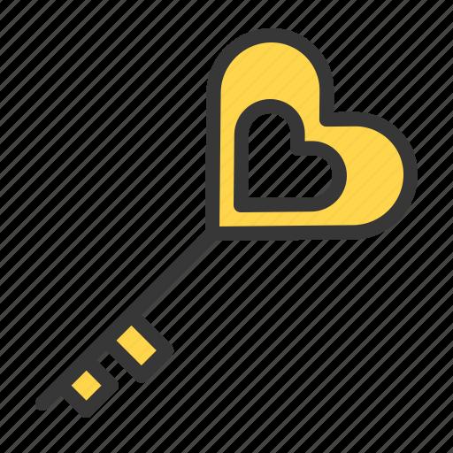 dating, heart, heart key, key, love icon