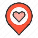 dating, location, love, love location, love position icon