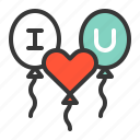 balloon, dating, i love u, i love you, love, love balloon icon